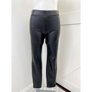 HUE Black Faux Leather Pants